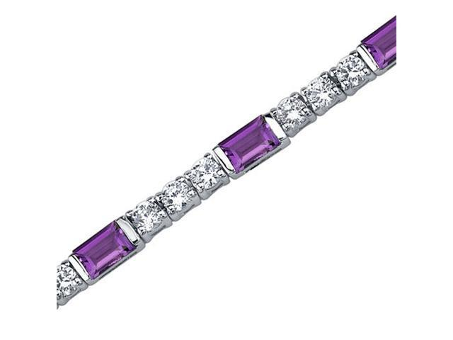Scintillating Charm: 4.25 carats total weight Baguette Cut Amethyst & White CZ Gemstone Bracelet in Sterling Silver
