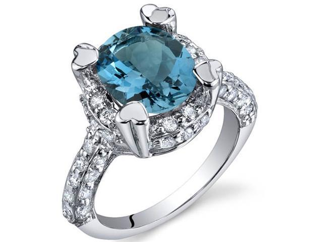 Royal Splendor 3.00 Carats London Blue Topaz Ring in Sterling Silver Size 8