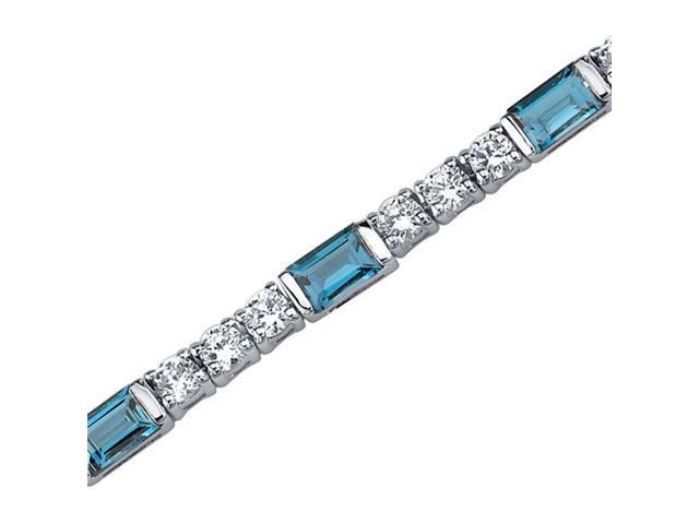 Scintillating Charm: 5.75 carats total weight Baguette Cut London Blue Topaz & White CZ Gemstone Bracelet in Sterling Silver