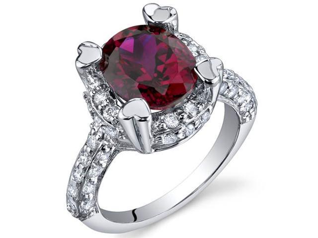 Royal Splendor 3.50 Carats Ruby Ring in Sterling Silver Size 9
