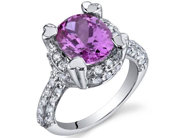 Royal Splendor 3.50 Carats Pink Sapphire Ring in Sterling Silver Size 5