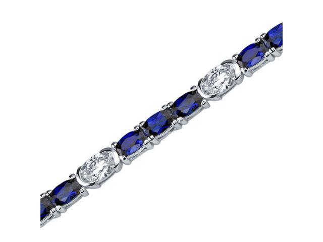 Magical Delight: Oval Shape Blue Sapphire & White CZ Gemstone Bracelet in Sterling Silver