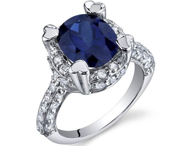 Royal Splendor 3.75 Carats Blue Sapphire Ring in Sterling Silver Size 7