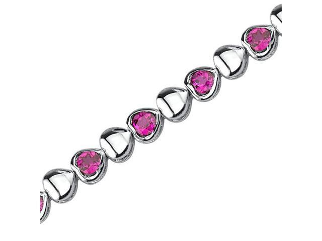Lovely Fantasy: Round Shape Ruby Gemstone Bracelet in Sterling Silver