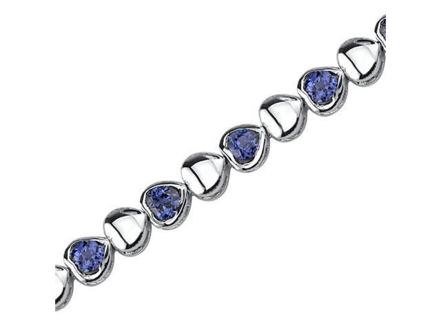 Lovely Fantasy: Round Shape Blue Sapphire Gemstone Bracelet in Sterling Silver