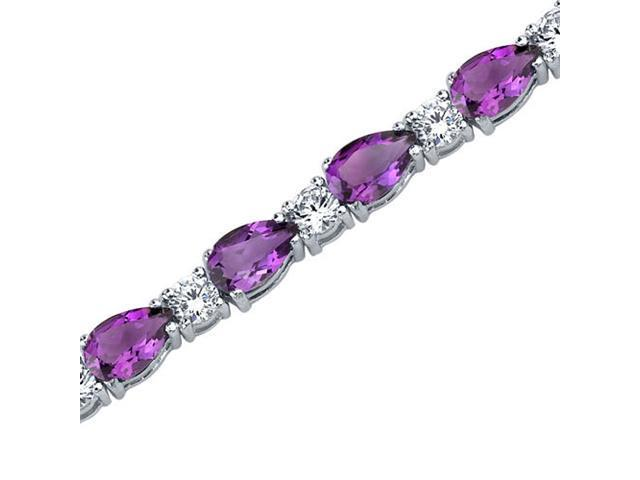 Perfect Allure: 10.00 carats total weight Pear Shape Amethyst & White CZ Gemstone Bracelet in Sterling Silver