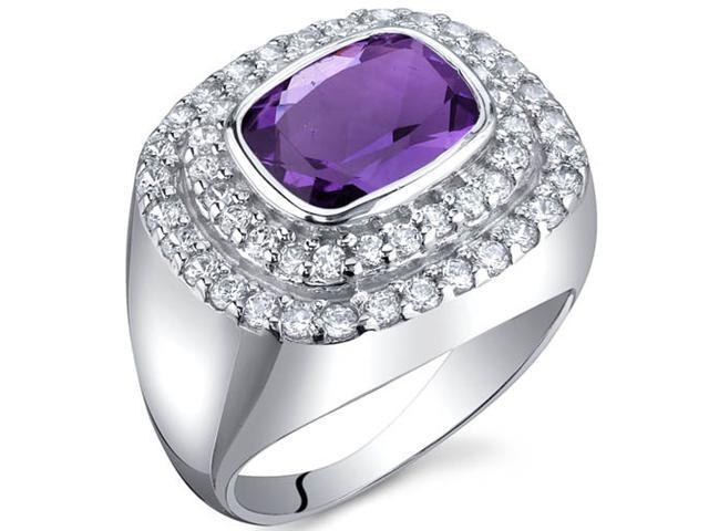 Extravagant Sparkle 1.75 Carats Amethyst Ring in Sterling Silver Size 9