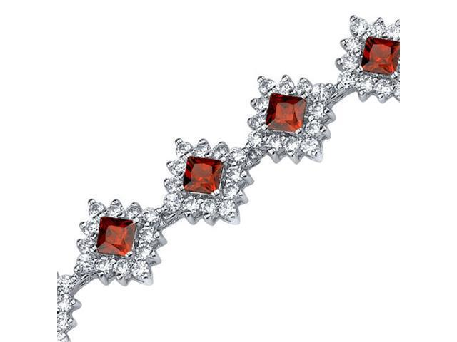 Timeless Splendor: 2.75 carats total weight Princess Cut Garnet & White CZ Gemstone Bracelet in Sterling Silver