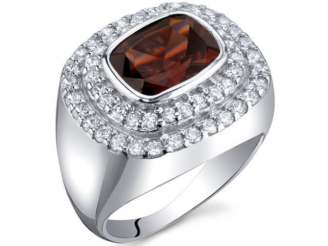 Extravagant Sparkle 2.50 Carats Garnet Ring in Sterling Silver Size 8