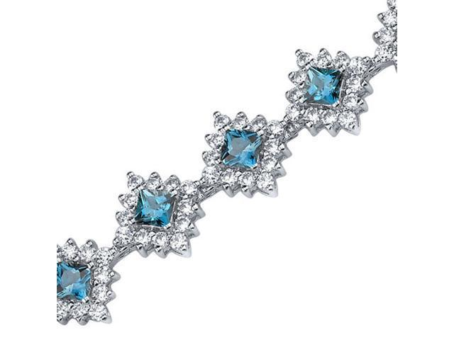 Timeless Splendor: 2.50 carats total weight Princess Cut London Blue Topaz & White CZ Gemstone Bracelet in Sterling Silver