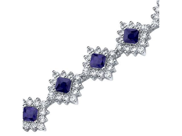 Timeless Splendor: Princess Cut Blue Sapphire & White CZ Gemstone Bracelet in Sterling Silver