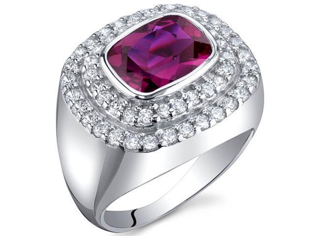 Extravagant Sparkle 2.75 Carats Ruby Ring in Sterling Silver Size 8