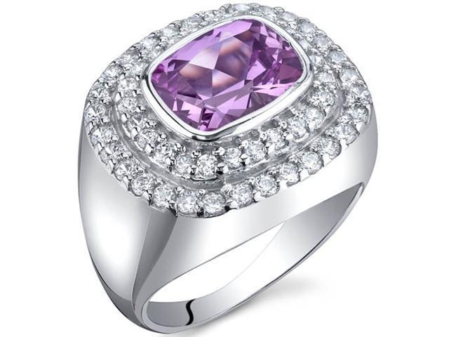 Extravagant Sparkle 2.75 Carats Pink Sapphire Ring in Sterling Silver Size 5