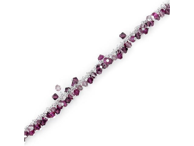 Fuchsia Fusion: Sterling Silver Charm Bracelet with Swarovski Crystal Beads