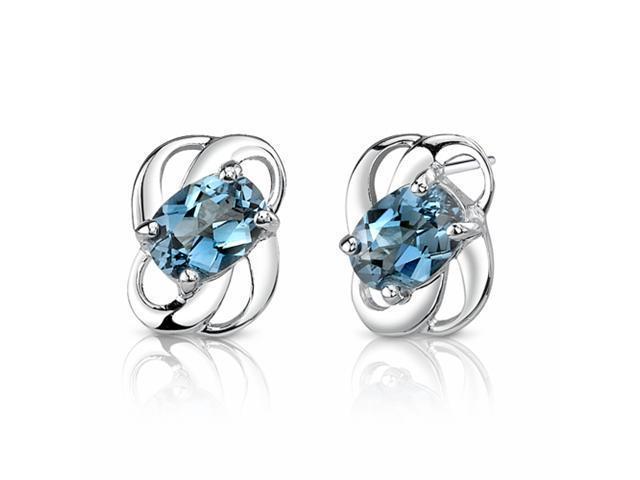 2.00 Ct.T.W. Genuine Oval Shape London Blue Topaz in Pure Sterling Silver Earrings