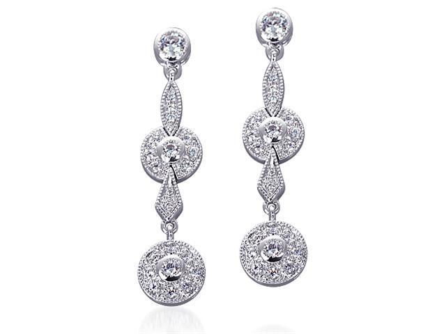 Radiant Elegance: Sterling Silver Chandelier Two-tier Style Linear CZ Diamond Earrings