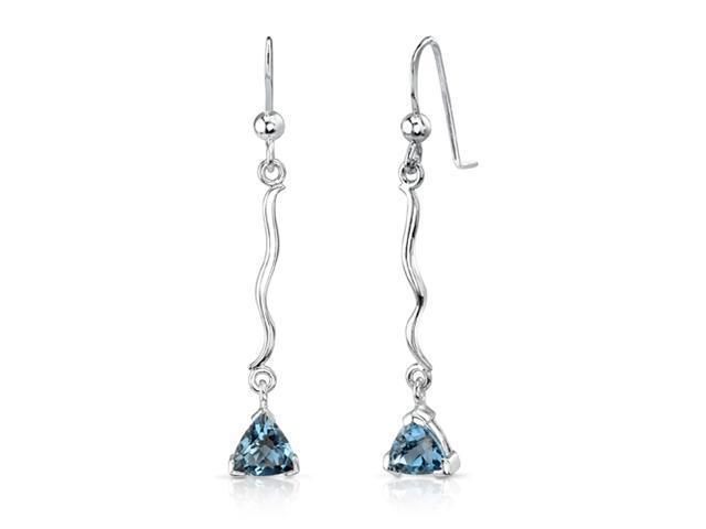 1.50 Ct.T.W. Genuine Trillion Cut London Blue Topaz in Pure Sterling Silver Earrings
