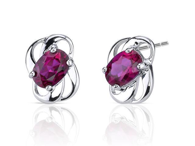 Classy 2.00 carats Ruby earrings in Sterling Silver