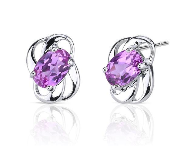 Classy 2.00 carats Pink Sapphire earrings in Sterling Silver