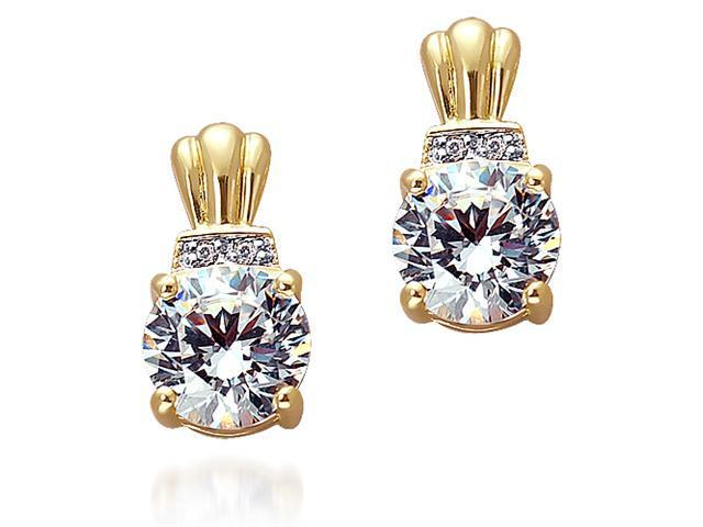 Golden Glory: Gold vermeil Stud Earrings with CZ Diamonds
