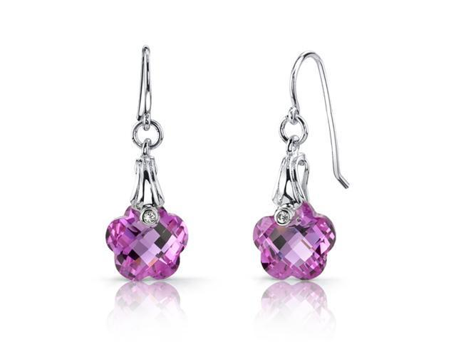 Blooming Flower Cut 10.00 carats Pink Sapphire Fishhook Earrings Sterling Silver