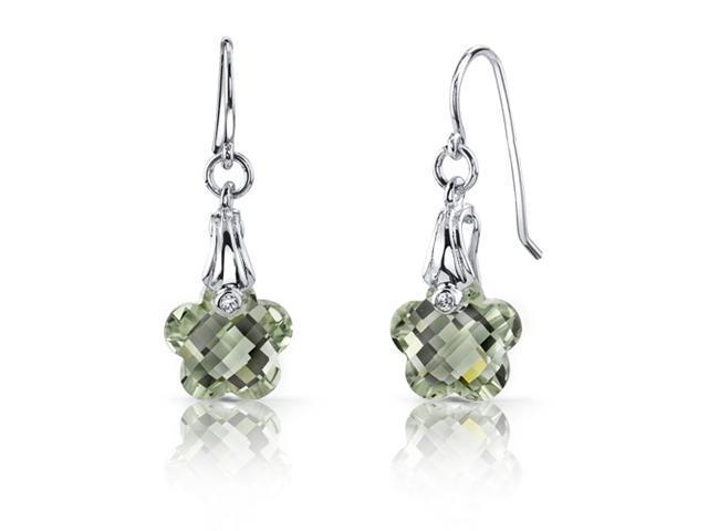 Blooming Flower Cut 7.00 carats Green Amethyst Fishhook Earrings Sterling Silver