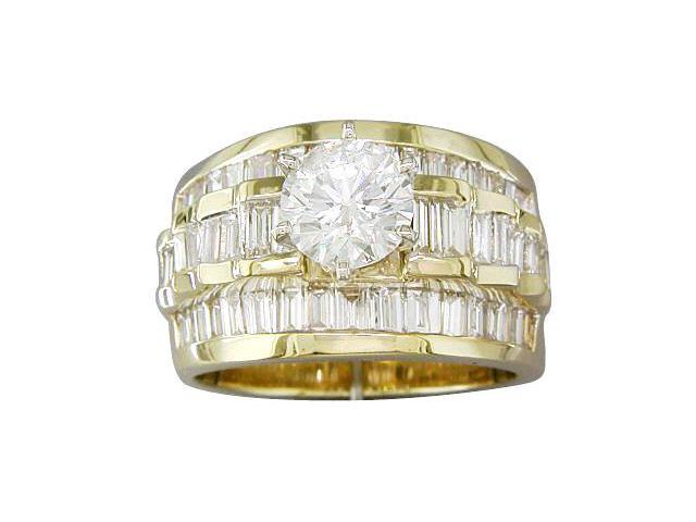 EGL Certified 3.00ct Diamond Engagement Ring 14kt Yellow Gold