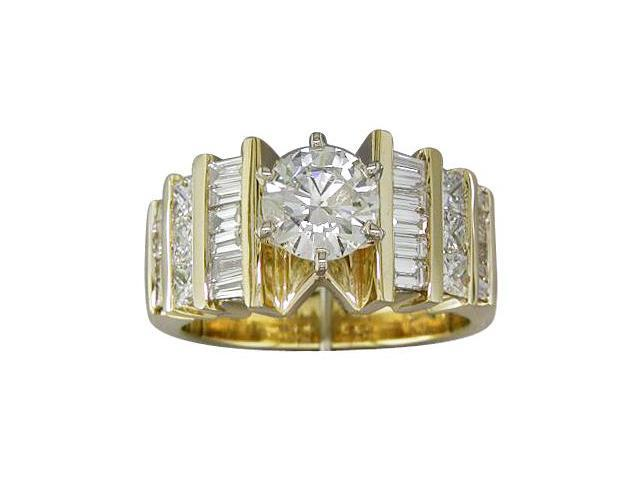EGL Certified 2.02 cts Diamond Engagement Ring 14Kt Yellow Gold