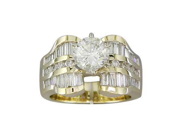 EGL Certified 2.61 cts Diamond Engagement Ring 14Kt Yellow Gold