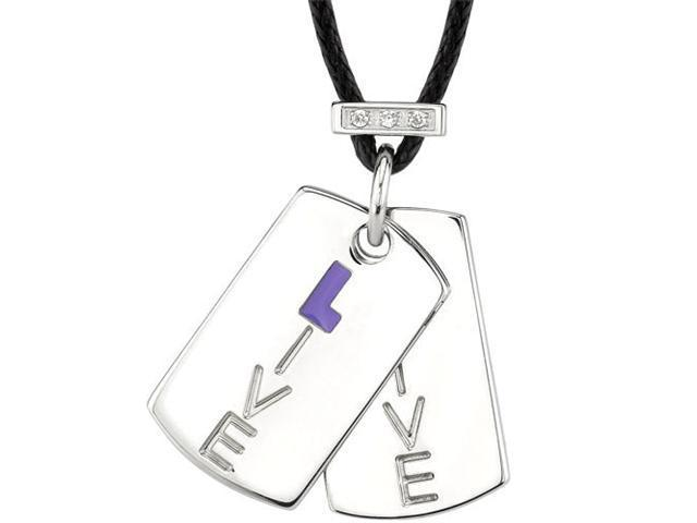 Live with Spirit: Designer Inspired Surgical Stainless Steel High Polished Finish Dog Tag Pendant Engraved with ???Live??? and accented with CZ Diamonds