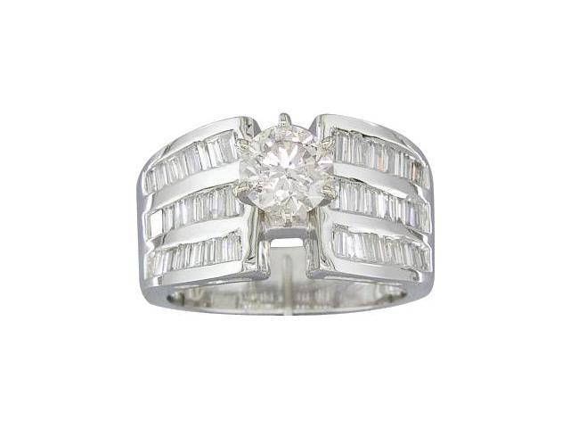EGL Certified 1.85 cts Diamond Engagement Ring 14Kt White Gold