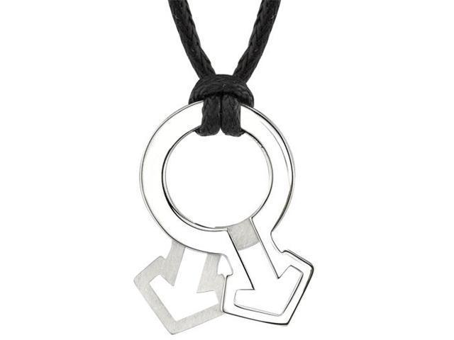 Fabulous Style: Designer Inspired High Polished and Satin Finish Surgical Stainless Steel Male Mars Symbol Pendant on a Black Cord