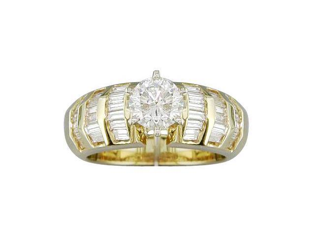 EGL Certified 1.74 cts Diamond Engagement Ring 14Kt Yellow Gold