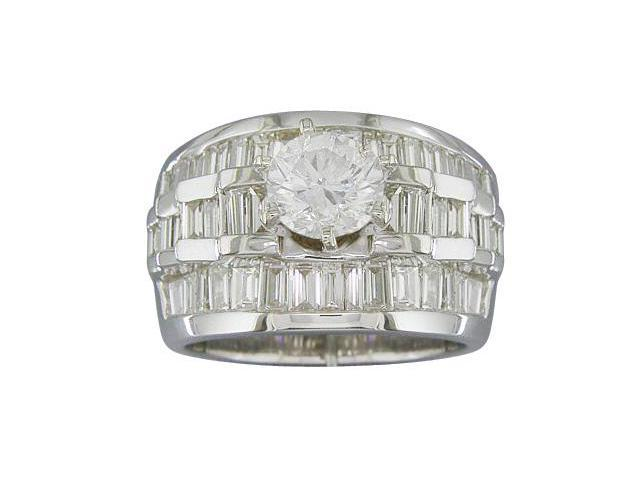 EGL Certified 2.73 cts Diamond Engagement Ring 14Kt White Gold
