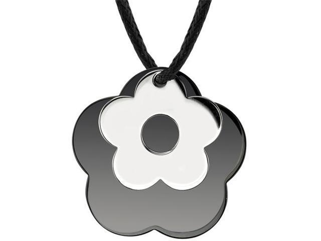 Floral Power: Designer Inspired Surgical Stainless Steel with Black Enamel and Chrome Finish Flower Pendant on a Black Cord