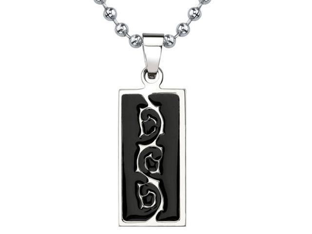Natural Beauty: Designer Inspired Titanium & Black Enamel Tribal-style Tattoo Pattern Dog Tag Pendant on a Stainless Steel Ball Chain