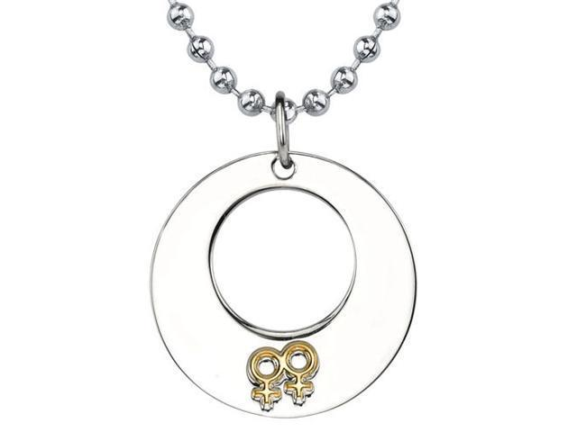 Touch of Elegance: Designer Inspired Surgical Stainless Steel Gunmetal Finish Circle Pendant with Double Female Insignias on a Stainless Steel Ball Chain