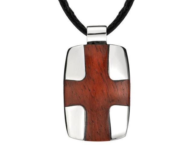 Modern and Masculine: Designer Style Surgical Stainless Steel High-polish Dog Tag with Redwood Finish Cross Pendant on a Black Cord for Men