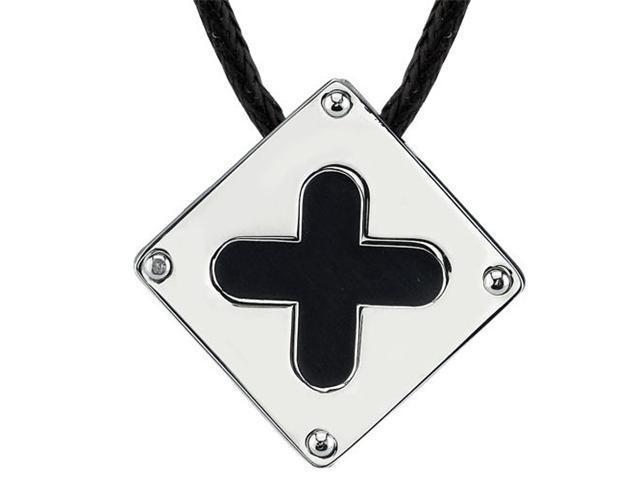 Added Elegance: Designer Inspired Surgical Steel Brushed-finish with Black Enamel Plus Sign Square Pendant on a Black Cord