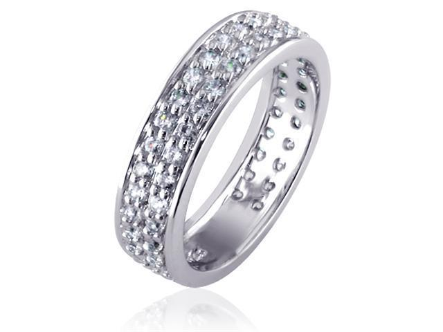 Striking and Chic: Sterling Silver Full Eternity Ring with Double Row CZ Diamonds