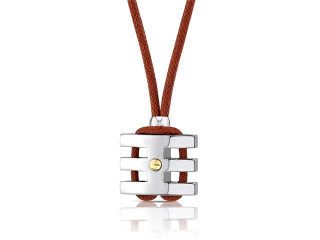 Handsome and Strong: Stainless Steel Coiled-style Gold-plated Rivet Pendant on a Red Wax Cord for Men