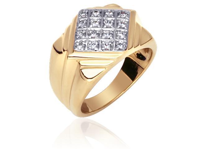 Bold and Masculine: Gold Vermeil Two-Tone Designer Style Ring with CZ Diamond for Men
