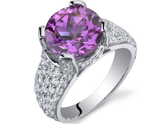 Striking Exuberance 5.00 Carats Pink Sapphire Ring in Sterling Silver Size 9