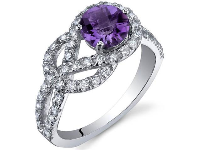 Gracefully Exquisite 0.75 Carats Amethyst Ring in Sterling Silver Size 6