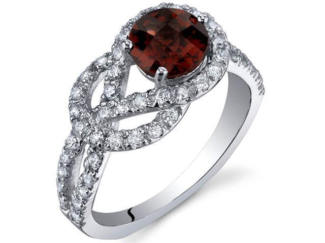 Gracefully Exquisite 1.00 Carats Garnet Ring in Sterling Silver Size 7