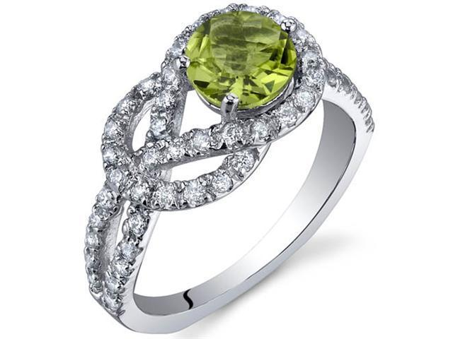 Gracefully Exquisite 0.75 Carats Peridot Ring in Sterling Silver Size 7