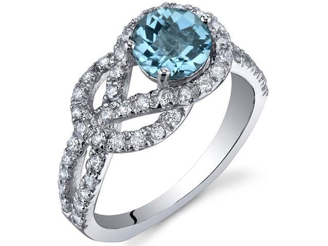 Gracefully Exquisite 1.00 Carats Swiss Blue Topaz Ring in Sterling Silver Size 7