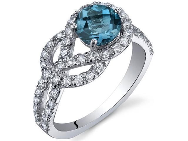Gracefully Exquisite 1.00 Carats London Blue Topaz Ring in Sterling Silver Size 8