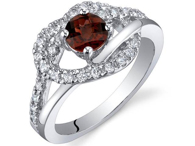 Rhythmic Harmony 0.50 Carats Garnet Ring in Sterling Silver Size 5