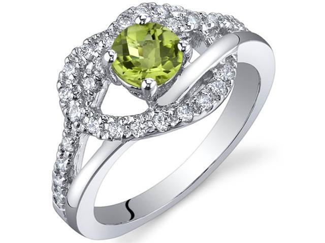 Rhythmic Harmony 0.50 Carats Peridot Ring in Sterling Silver Size 7